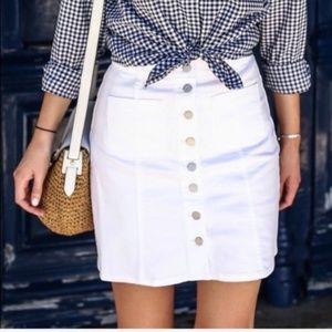 Madewell White Denim Jean Button-Front Skirt 26